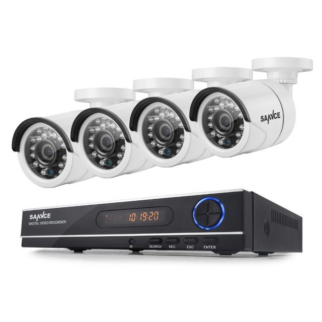 SANNCE 8CH 720 P AHD DVR 4 UNIDS 1200TVL IR de Visión Nocturna CCTV Cámara al aire libre 24 Led Home Seguridad Sistema de Vigilancia CCTV Kit