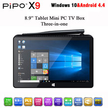 In Stock! PIPO X9 Mini PC Windows10 Android4.4 Dual Boot 8.9 inch Tablet Mini PC Intel Z3736F Quad CoreMini Computer BT4.0 HDMI