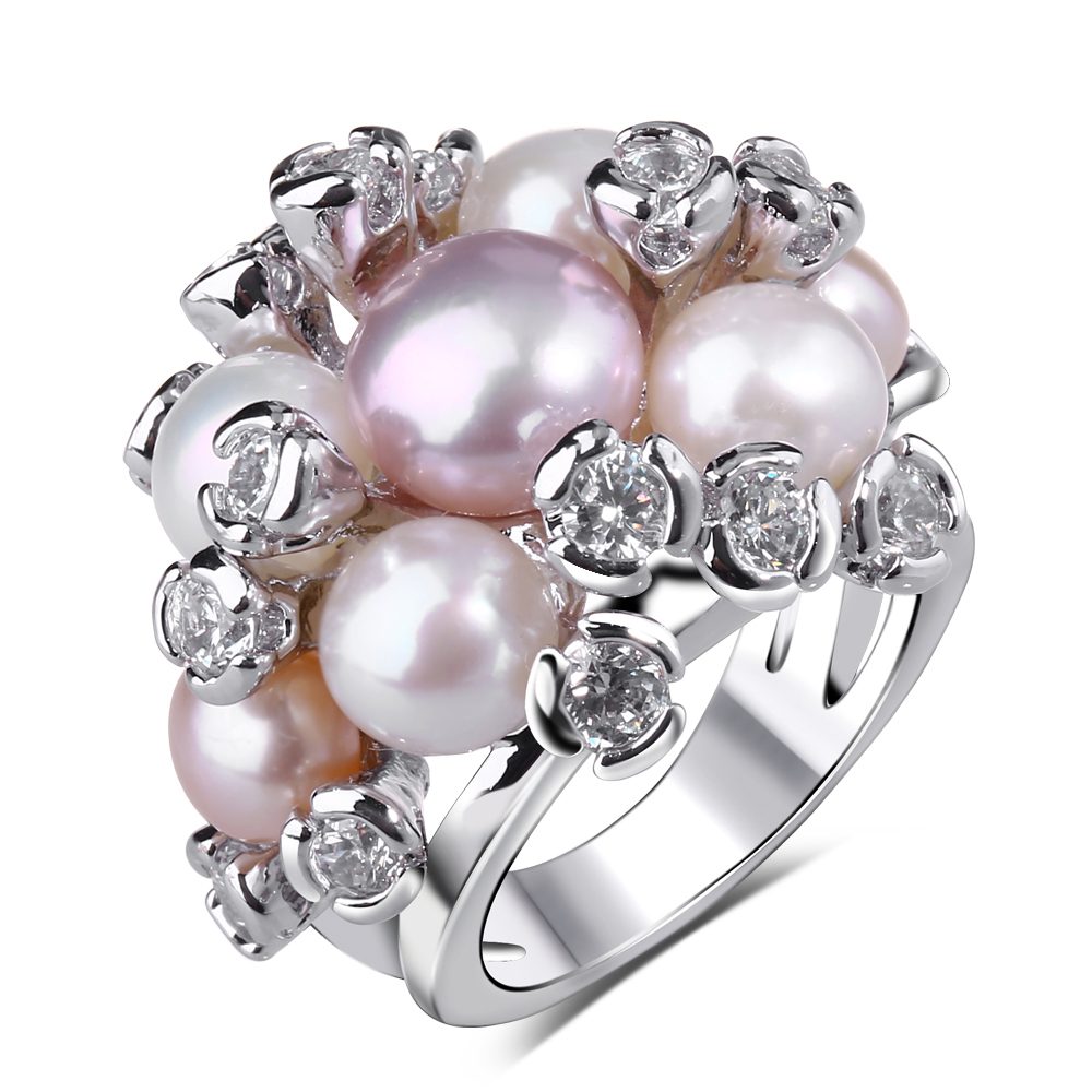 Natural Water Pearl Ring Trendy Women Jewelry Prong Setting Aaa Cubic  Zirconia White And Gold Color Freshwater Pearls Ring
