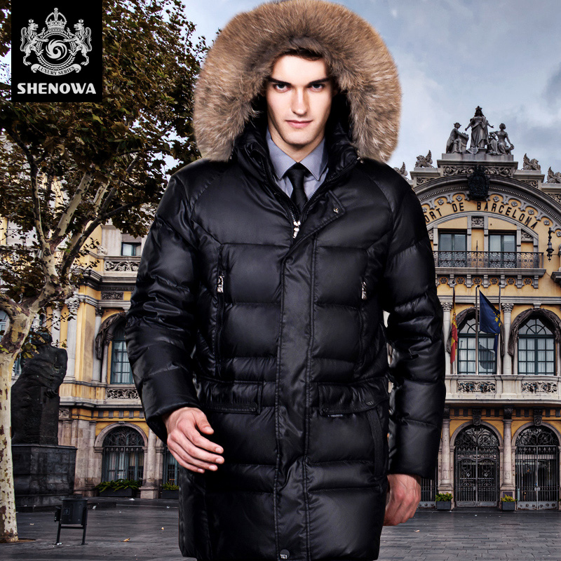 fashion down coat male thickening long design casual male white duck down high quality font b