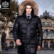 fashion down coat male thickening long design casual male white duck down high quality men's jacket
