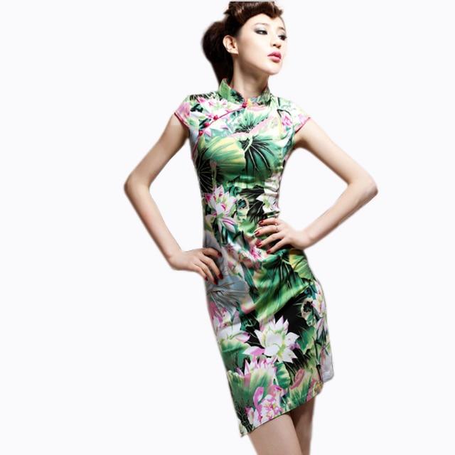 Sexy Chinese Dress Women Short Cotton Cheongsam Dress Plus Size 5xl