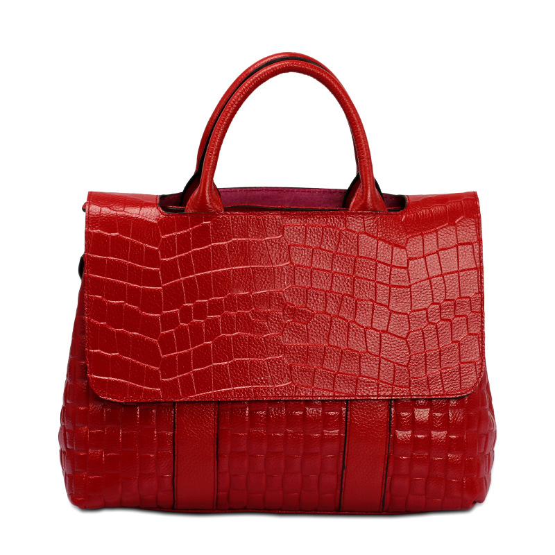 Free Shipping Europe New Fashion Genuine Cow Leather All matched Women Classical  Aligator Pattern Totes and Handbags DDY010