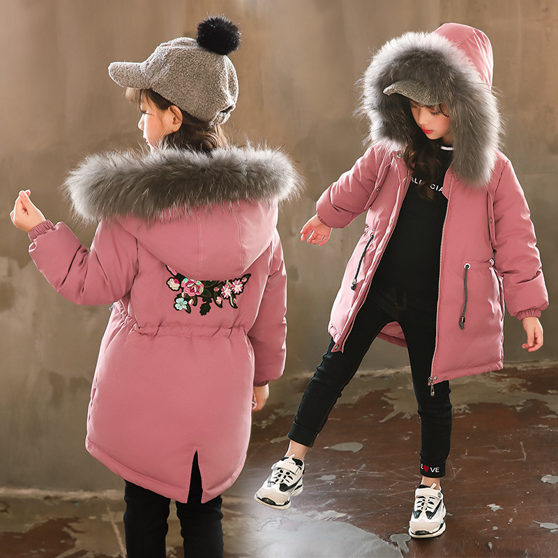 2018 New Girls Cotton Jacket Kids Thicken Warm Coat Children's Winter Floral jacket Girl Parkas Raccoon Fur Hooded Jacket 3-14Y ноутбук hp 15 bw022ur amd e2 9000 1800mhz 4gb 500gb 15 6hd int amd radeon r2 dvd rw dos