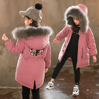 2018 New Girls Cotton Jacket Kids Thicken Warm Coat Children's Winter Floral jacket Girl Parkas Raccoon Fur Hooded Jacket 3 14Y