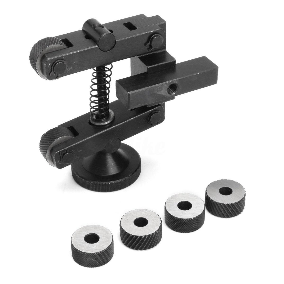 Mayitr Carbon Steel Knurling Tool Holder Linear Knurl Tools Adjustable Shank 6pcs Wheel 20mm For Mini