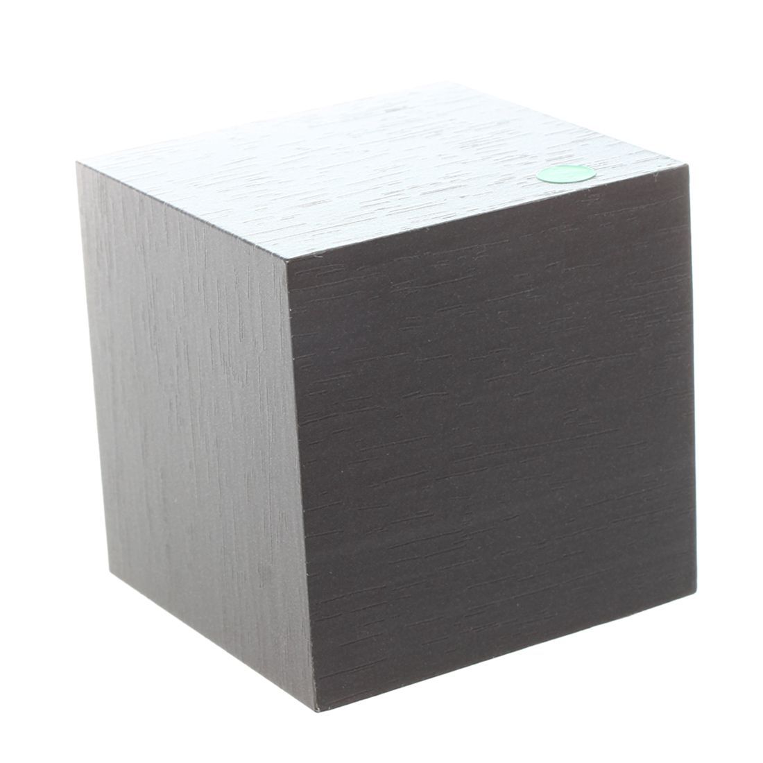 Wood Cube LED Alarm Control Digital Desk Clock Wooden Style Room Temperature Black wood green led