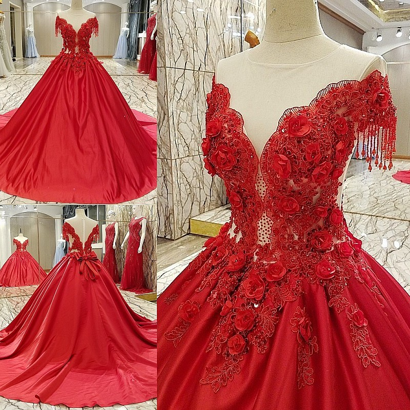 7bdcde0f840b6 Fashionable Evening Dress Red Satin Beading 3D Floral Print Zipper Back Ball  Gown Long Formal Dress Robe De Soiree Real Photos