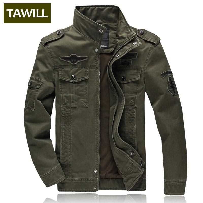 TAWILL Для мужчин куртку жан военный плюс 6XL солдат армии хлопка ВВС один мужской бренд одежды Демисезонный Для мужчин s Куртки 8331