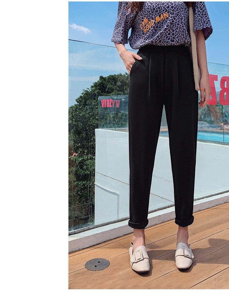 Aselnn Pants Women 2019 Spring Autumn Casual Linen Ankle-length Pants Regular Harem Pants Plus Size Streetwear Trousers Female 15