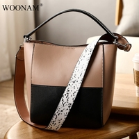 WOONAM New Women Fashion Italy Calf Leather 2 Tone Bucket Bag With Fashion Python Pattern Shoulder