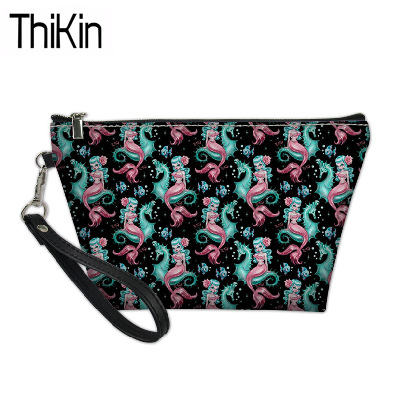 THIKIN Females Large Capacity Make Up Cases For Women Mysterious Mermaid Printing Travel Cosmetic Box Ladies Wash Kit Bags Bolsa