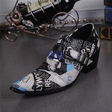 2017 Новый Роскошный мужской Моде Оксфорд Обувь Печати Газета Обувь мужчины Натуральная Кожа Мужчины Офисных Обувь Платье Обувь Плюс Размер 46