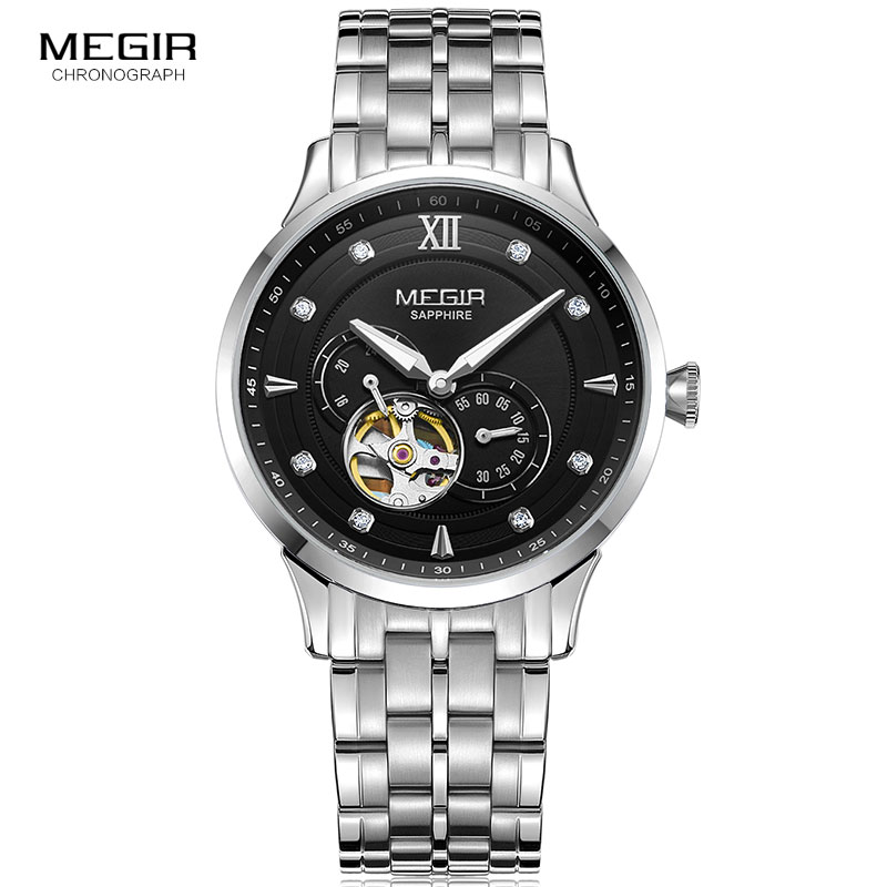 MEGIR Mens Business Mechanical Watches Luxury Top Brand Waterproof Wristwatch Stainless Steel Clock Relogios Masculinos 62053MEGIR Mens Business Mechanical Watches Luxury Top Brand Waterproof Wristwatch Stainless Steel Clock Relogios Masculinos 62053