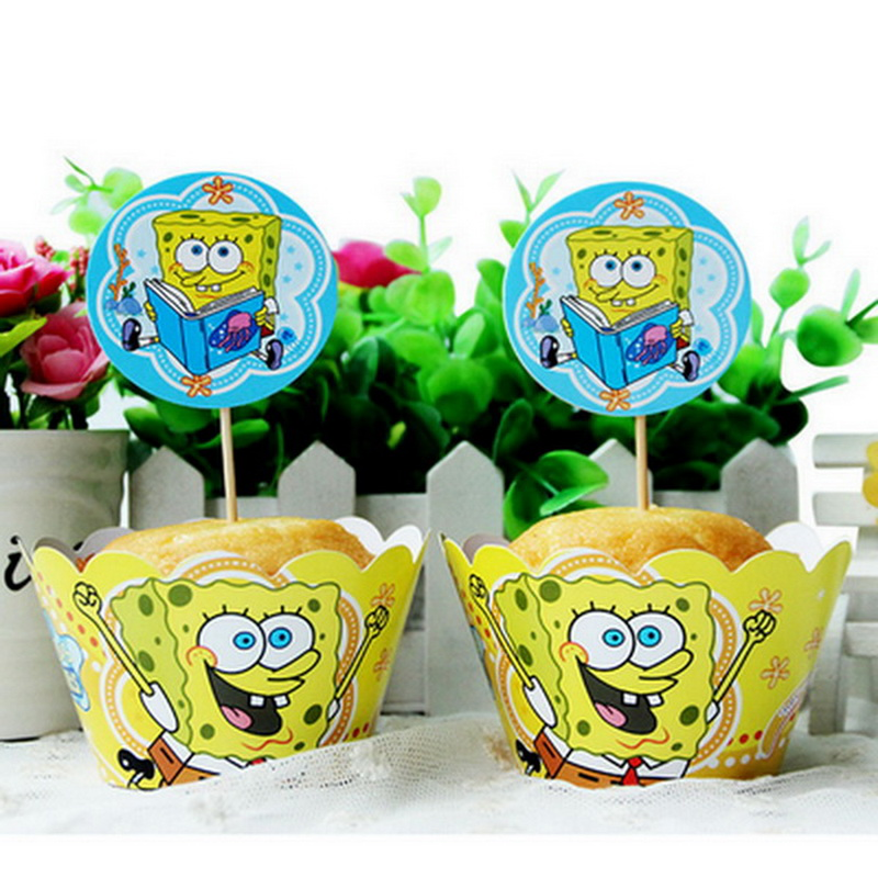 spongebob boy birthday topper cake wrappers children baby kids party decoration supplies sponge bob cupcake toppers wrapper