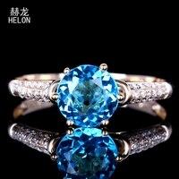 Твердое обручальное кольцо из желтого золота 10 к с натуральными бриллиантами, обручальное тонкое кольцо 6,5 мм, круглое кольцо с синим топазо