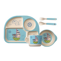5pc Set Baby Dishes Bamboo Fiber Bowl Plate Cup Spoon Fork Children Tableware Set Creative Gift