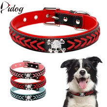 Didog Soft PU Leather Dog Collar Pet Braided Collars Necklace Bling  Rhinestone Skull Accessories For Small 67632bb36172