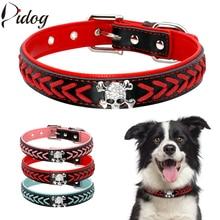 Didog Soft PU Leather Dog Collar Pet Braided Collars Necklac
