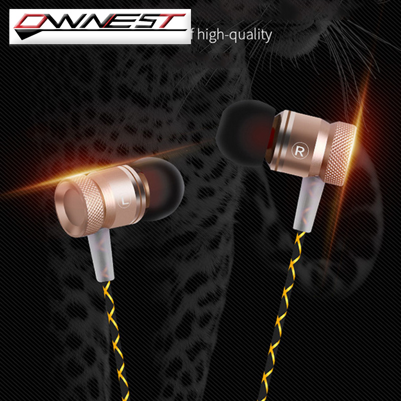 OWNEST 3.5mm In ear Noise Isolating HD HiFi Metal Earphone with microphone Headphones super bass stereo headsets for Smart phone dhl free 2pcs black white m6 pro universal 3 5mm wired in ear earphone noise isolating musician monitors brand new headphones