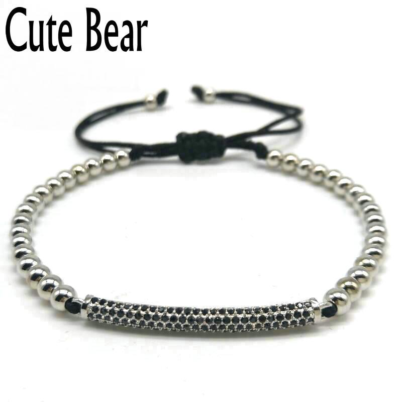 Cute Bear Brand Micro Pave CZ Zircon Bracelets Vacuum Plating 4mm Copper Beads Bracelet Rope Braided Bracelet Women Jewelry