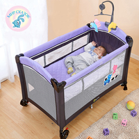 Multifunctional folding crib child bed Continental portable playpen with mosquito nets baby shaker