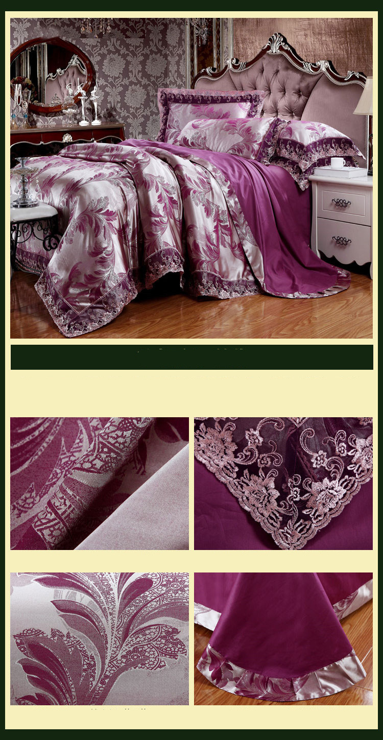 New Luxury Embroidery Tinsel Satin Silk Jacquard Bedding Set, Queen, King Size, 4pcs/6pcs 39