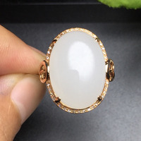 Fine Jewelry Collection Real 18K Rose Gold AU750 100% Natural White Hetian Jade Gemstone Rings China Origin for Women Gift