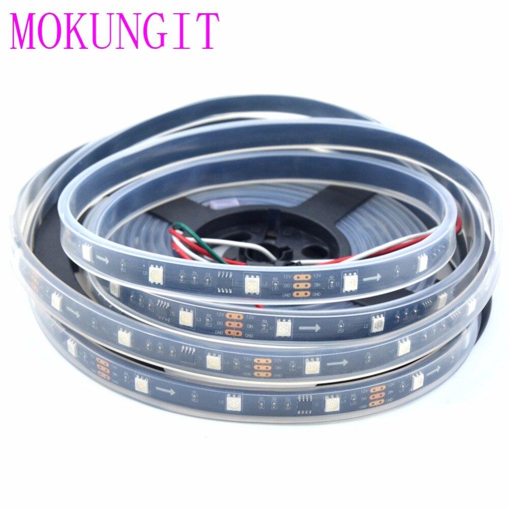 Mokungit 100M WS2811 Magic Dream Color 5050 RGB Addressable LED Flexible Strip Light 12VDC 30LEDs/M IP67 Waterproof White PCB