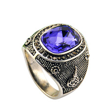 Size 8-11 Free Shipping Men Jewelry Antique Silver Gold Plated Purple Crystal Ring цена 2017