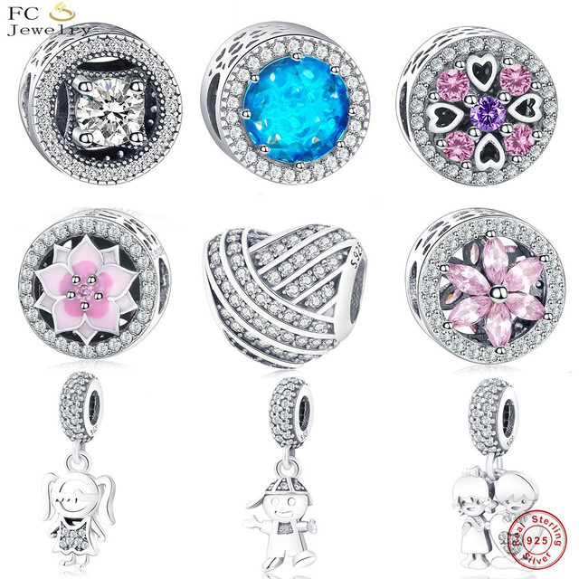 FC Jewelry Fit Original Pandora Charms Bracelet 925 Silver Enamel Hearts Flower Mosaic Color Zirconia Spacer Beads Pendant Gifts