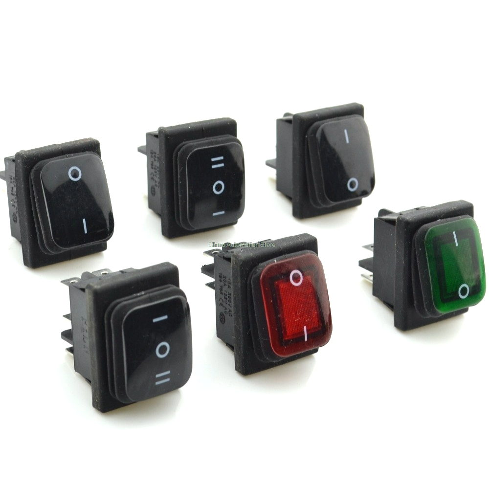 Waterproof Latching Rocker Toggle Switchred Green Black 4pin Switch 2position 6pin 3position Ac250v 16a Ac125v 20a