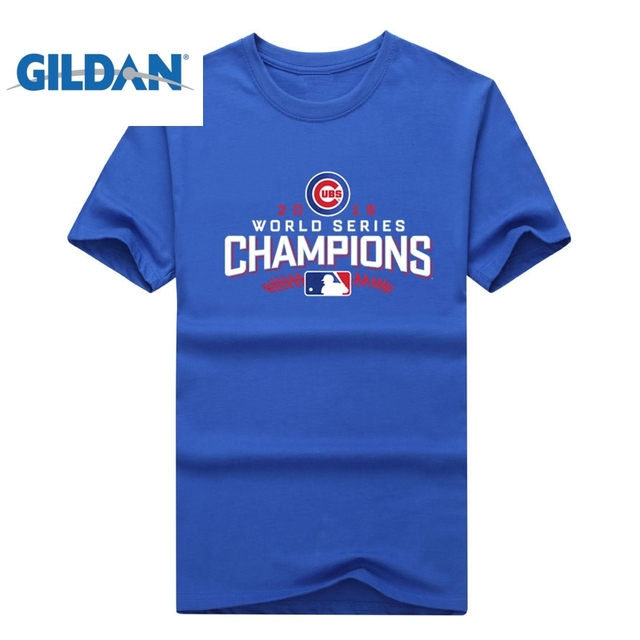 c87c8efcf GILDAN Chicago World Series Champions Men T-shirt short sleeve o-neck Cubs  T shirt