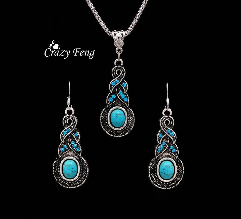 Fashion Silver Color Resin Stone Dangle Drop Earrings And Crystal Pendant Necklace Retro Jewelry Sets