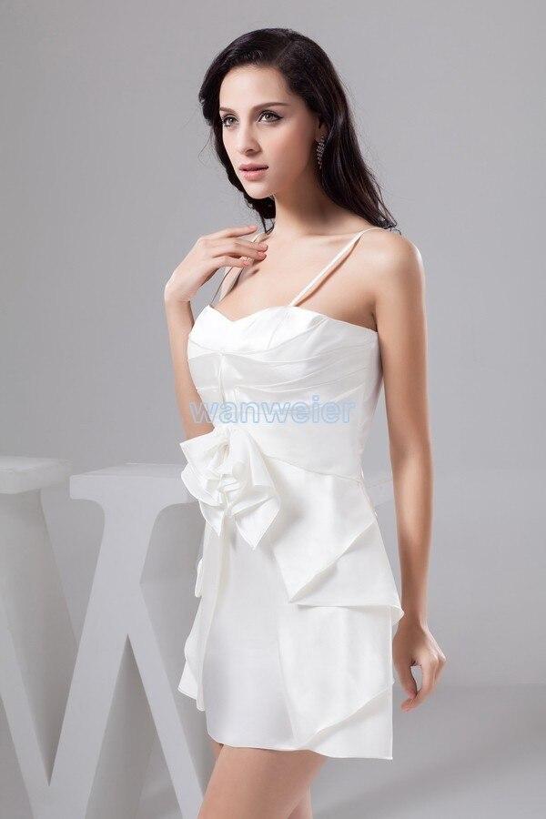 Livraison gratuite 2015 robe formelle vestido noiva grande taille nouveau design pli couleur personnalisée/taille courte mini robe de demoiselle d'honneur blanche - 6