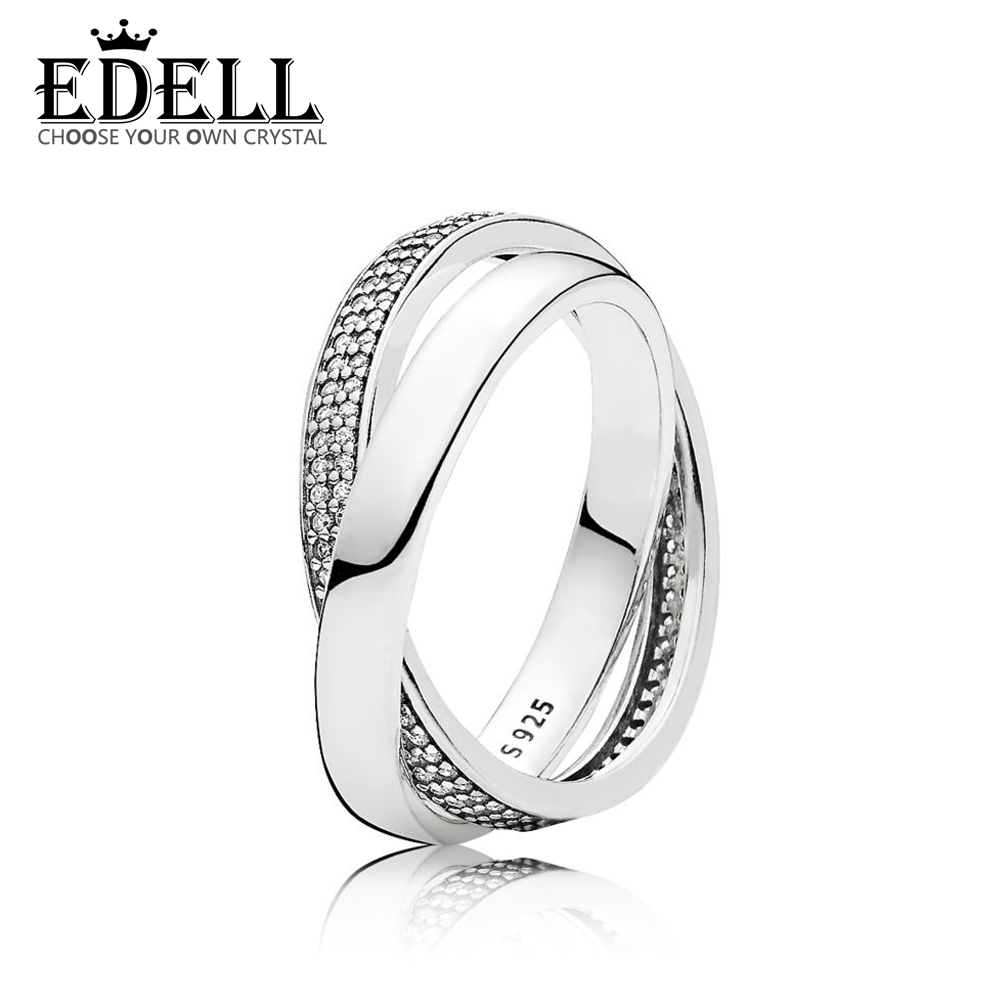 EDELL 100% Sterling silver 1:1 Glamour 196547CZ PROMISE RING Original Women wedding Fashion Jewelry 2018