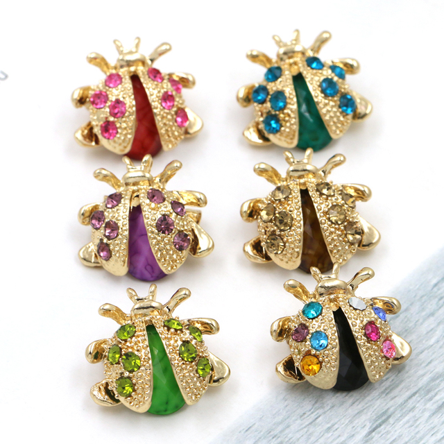 baiquqiandu Brand Small Ladybird Colorful Crystal Rhinestones Brooch Pins for Wo