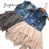 Fanfiluca Yaz Bebek Kız Elbise Denim Mesh Patchwork Prenses Kız Elbise Kolsuz Yürümeye Başlayan Çocuklar Kızlar için Elbiseler