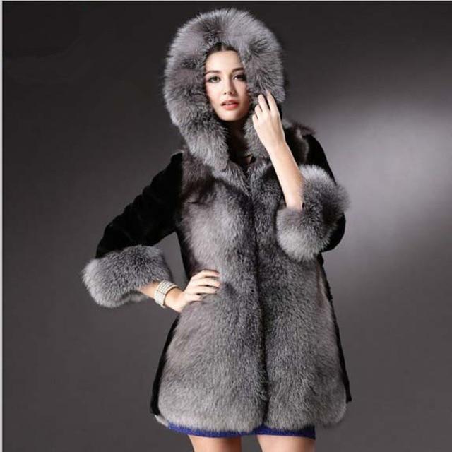 US $59.76 6% OFF|Faux Pelzmantel Frauen Schwarz Grau Mit Pelz Jacke Luxus nerz Weibliche Lange Imitation Pelzjacke Mäntel Plus Größe XXXL Outwear in