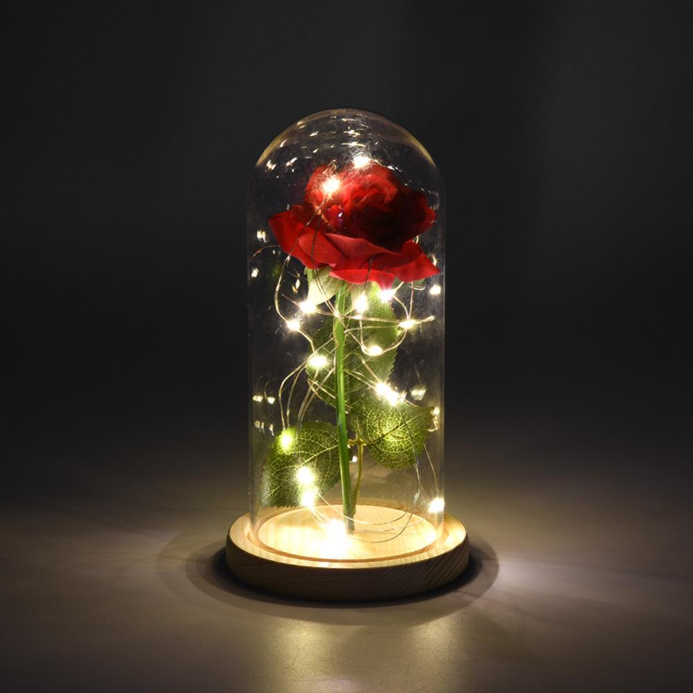 Beauty And The Beast Rose Artificial Flowers Led Light Wooden Base For Birthday Wedding Decoration Flower Girlfriend Gift Box Artificial Dried Flowers Aliexpress