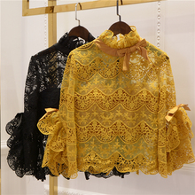 CL Vintage Lace Blouse and bra straps Xilin two piece temperament lace water-soluble lace blouse