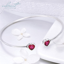 inbeaut Silver Red Zircon Heart Bangle 925 Forever Love Heart-shaped Stone Culf Bracelet Chain Women Wedding Jewelry for Gift popular good quality gift silver jewelry bangle pink love heart famous crystals 925 pure silver bangle