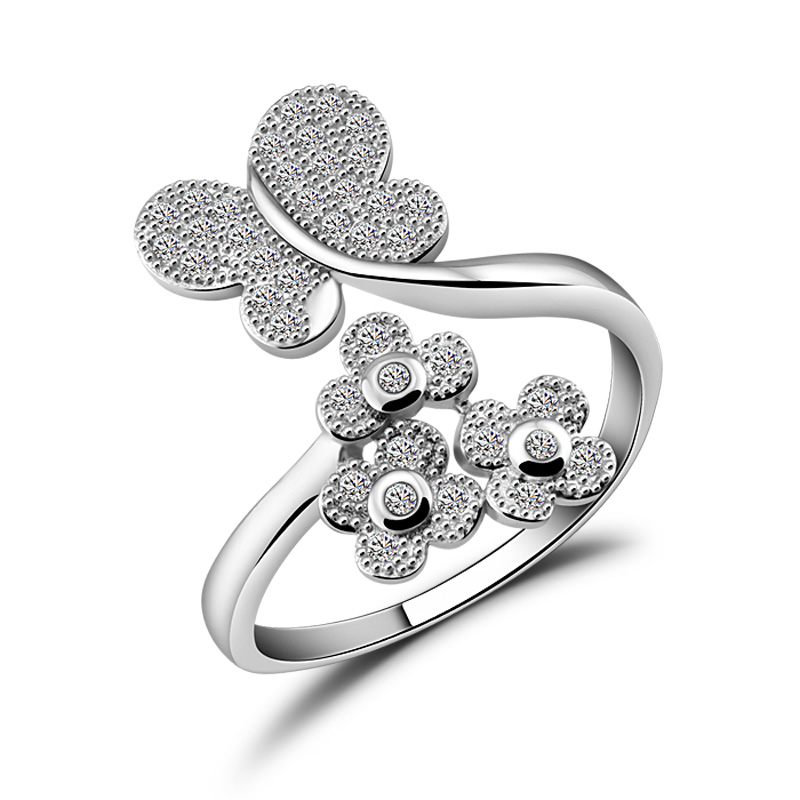 New fashion 925 sterling silver ring butterfly. woman charm flower ring.Dazzling zircon solid silver adjusting ring. jewelry mariposa en plata anillo