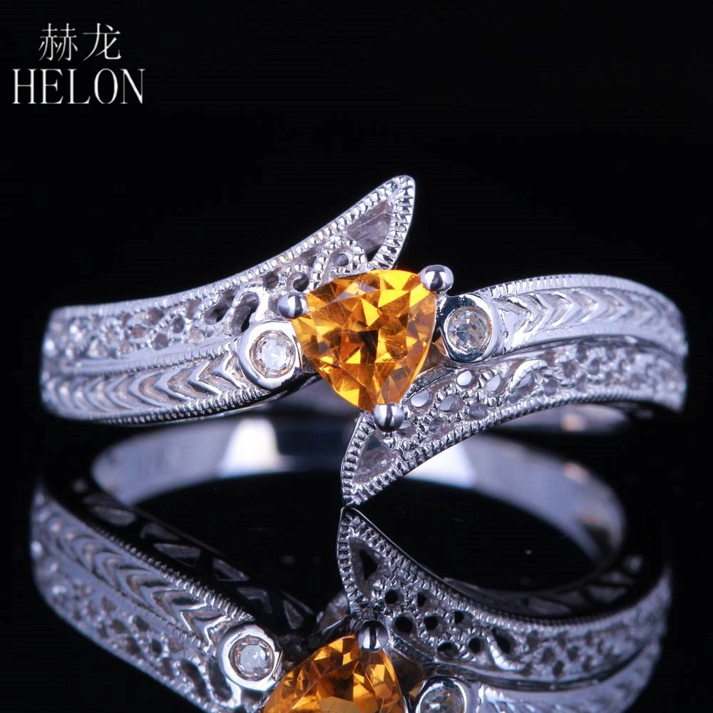 HELON Solid 10K White Gold Vintage Art Deco Jewelry 4.5x4.5mm Trillion Cut Natural Diamond Gemstone Engagement Wedding Fine Ring hermione jean granger cosplay costume dress for party