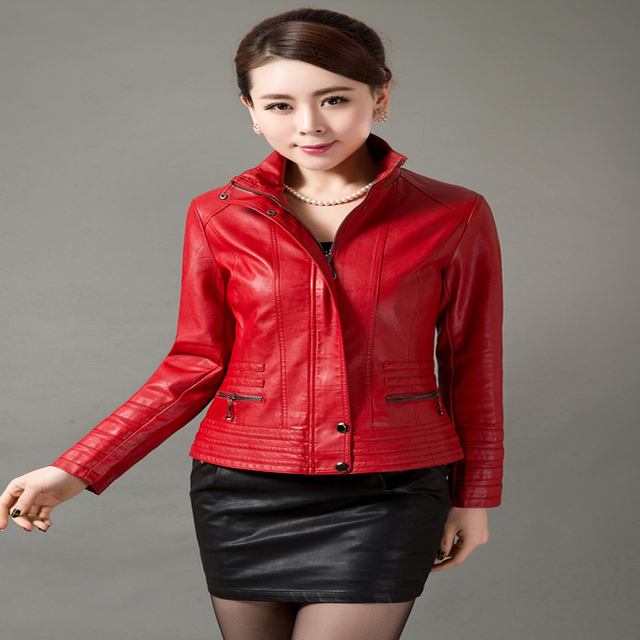 4xl 5xl High Quality Women Leather Jackets Brown Red Blue Stand Collar Faux Leather Coat Zipper Women Plus Size Clothing Outwear 3