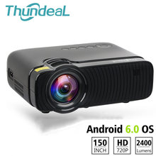 ThundeaL TD30 Max Projector 1280*720 Optional Android 6.0 WiFi Bluetooth 4K Mini LED Projector 2400Lumens Video 3D HD Proyector(China)