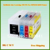Rỗng Refill 950xl 951xl 950 951 BK C M Y Mực Bơm Lại cartridge với chip cho thấy mực cấp đối với hp officepro 8100 8600 máy in