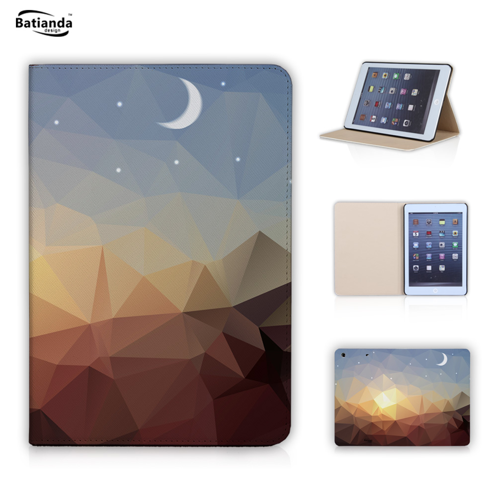 Fashion Geometric Painting Crystal Case For Apple iPad Mini 1 2 3 PU Leather Flip Stand Tablet Cover With Auto Sleep Wake Mode