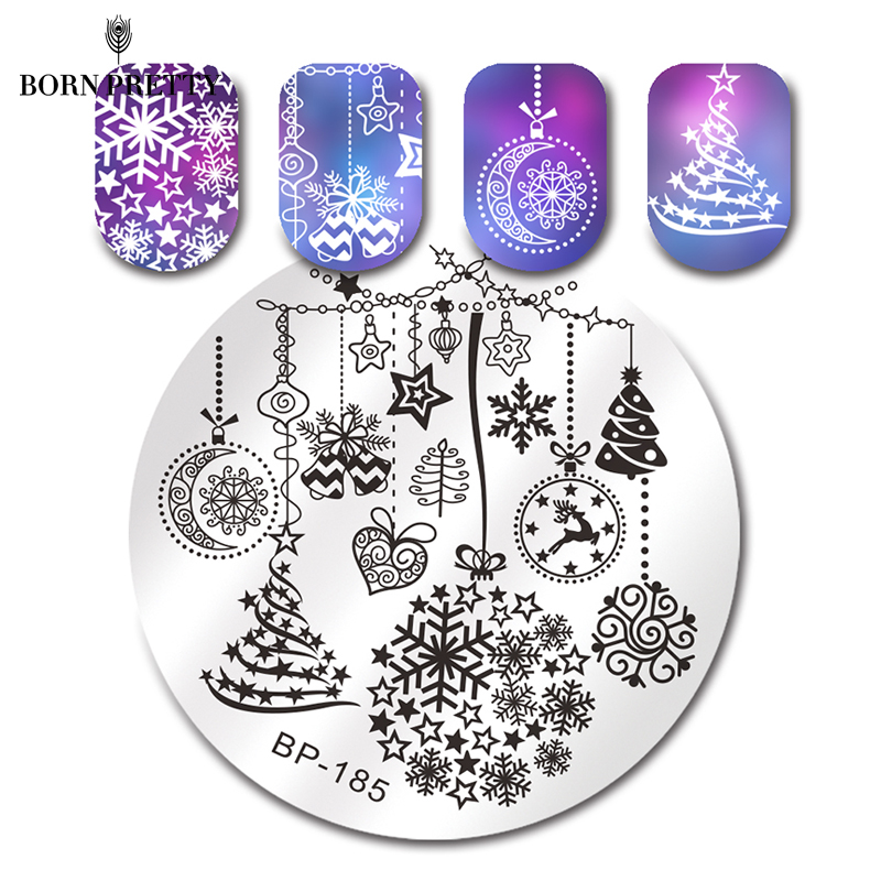 BORN PRETTY Christmas Nail Art Stamping Plate Snow Halloween Pattern Manicure Image Template Festival New Year Nails Stencil