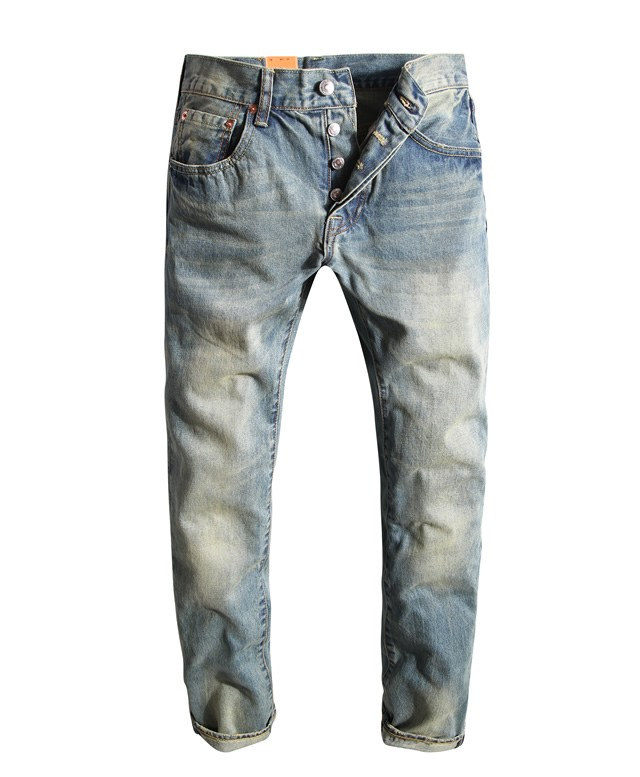 Levi's 2017 Fashion Mens Jeans Retro Vintage Trousers Pleated Straight Washed Denim Full Length Men Women Casual Long Pants 101B afs jeep jeans homme brand clothing light washed solid straight regular business jeans men full length denim pants casual jeans